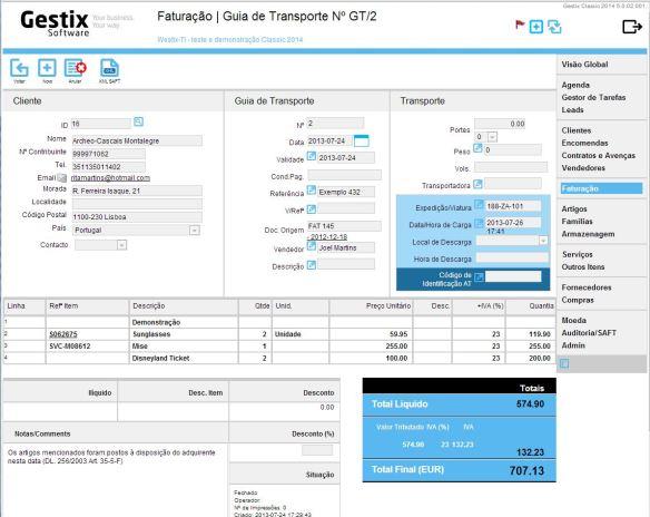 Após registada, a Guia de Transporte pode ser comunicada à AT através do botão XML-SAFT