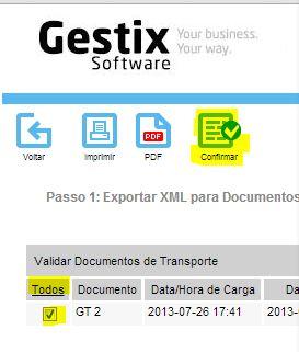 Detalhe da escolha dos documentos a comunicar, e botão de confirmação