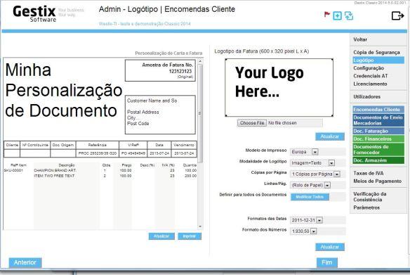 Verificar personalização da fatura no Gestix