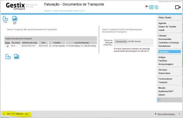 A descarga do ficheiro SAFT processa-se imediatamente
