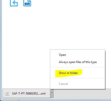 Pode ver o ficheir nas Pastas para memorizar a sua localização