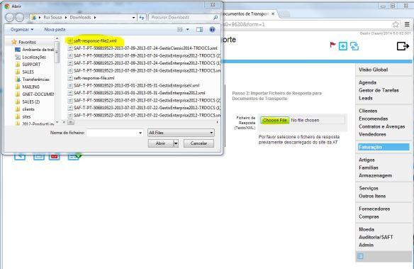 Selecionar o ficheiro de Resposta XML do site das Finanças