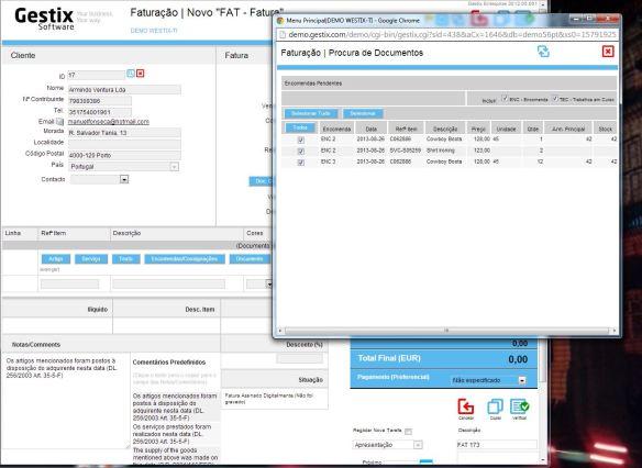 No Gestix Enterprise é mesmo possível faturar várias encomendas numa mesma fatura ou guia de remessa