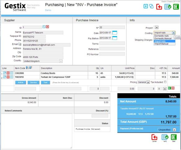 Diluting the shipping cost across the items  in a purchase invoice.