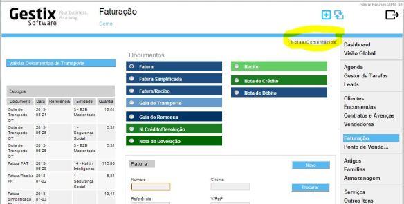 A função Notas/Comentários está disponível no canto superior esquerdo do menu Faturação
