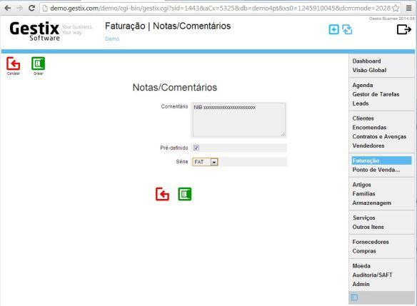 Exemplo de preenchimento da Nota/Comentário a ser automaticamente adicionada ao fazer documento da série FAT