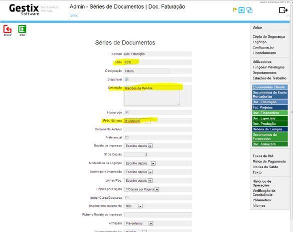 Identificação da Série, da Designação e Descrição do documento, e  do seu numerador (Próx. Números).