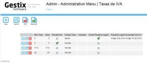 Menu Admin   Taxas de IVA