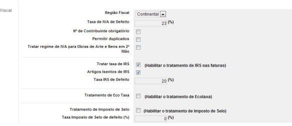 Menu Admin | Configuração | Fiscal