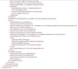 Detalhe do ficheiro XML de auditoria fiscal