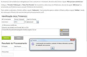Indicação do CSV validado no site das Finanças e-Fatura