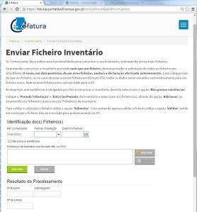 Faturas / Comerciante / Enviar Ficheiro Inventário