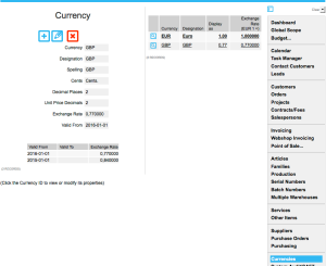 Currencies menu: Defining currencies and exchange rates
