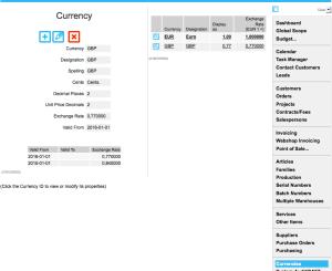 Currencies menu: Defining currencies and exchange rates